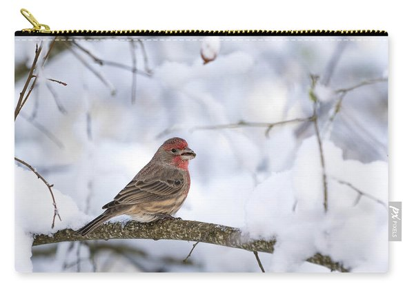 House Finch In Snow Carry-all Pouch