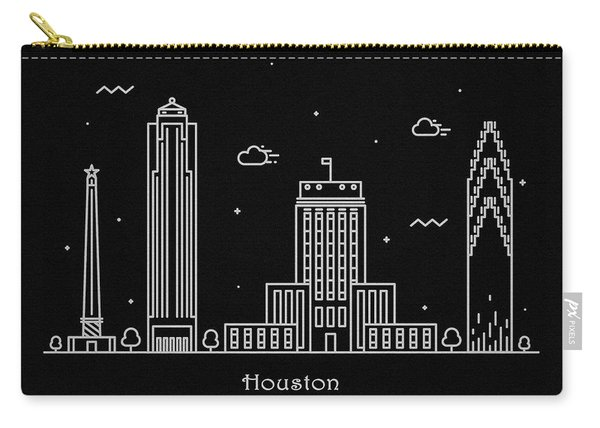 Houston Skyline Travel Poster Carry-all Pouch