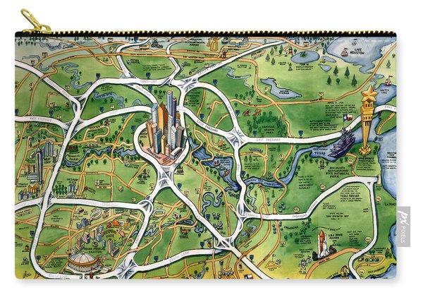 Houston Texas Cartoon Map Carry-all Pouch