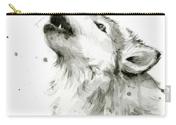 Howling Wolf Watercolor Carry-all Pouch