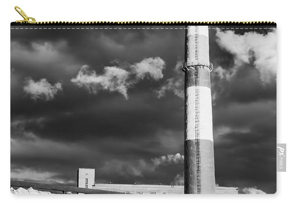 Huge Industrial Chimney And Smoke In Black And White Carry-all Pouch