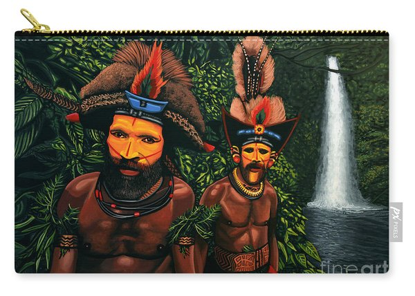 Huli Men In The Jungle Of Papua New Guinea Carry-all Pouch