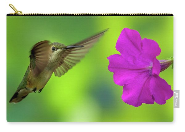 Hummingbird And Flower Carry-all Pouch