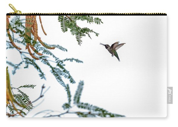 Hummingbird In Flight Isolated On White Sky Carry-all Pouch