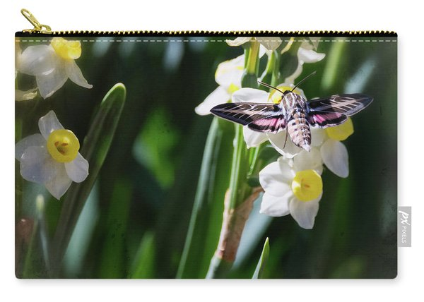Hummingbird Moth On Daffodil  Carry-all Pouch