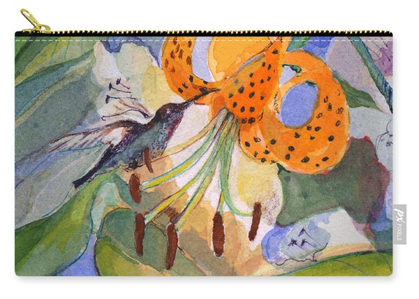 Hummingbird With Flowers Carry-all Pouch