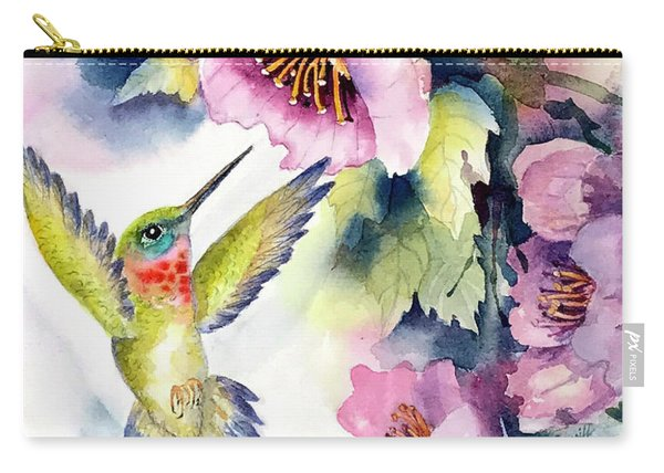 Hummingbird With Pink Flowers Carry-all Pouch