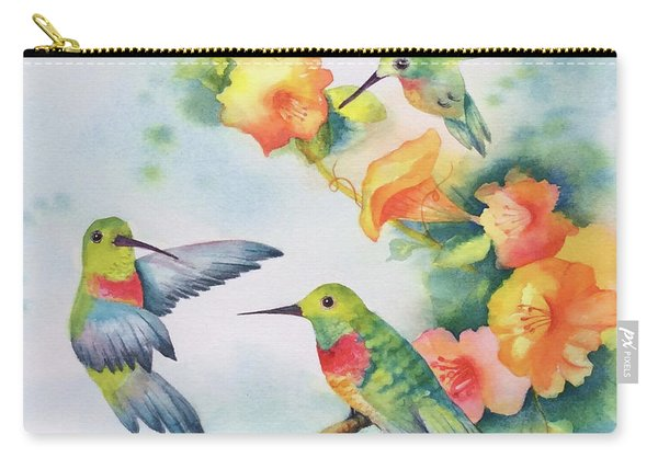Hummingbirds With Orange Flowers Carry-all Pouch
