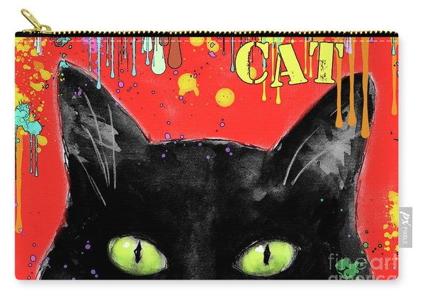 humorous Black cat painting Carry-all Pouch