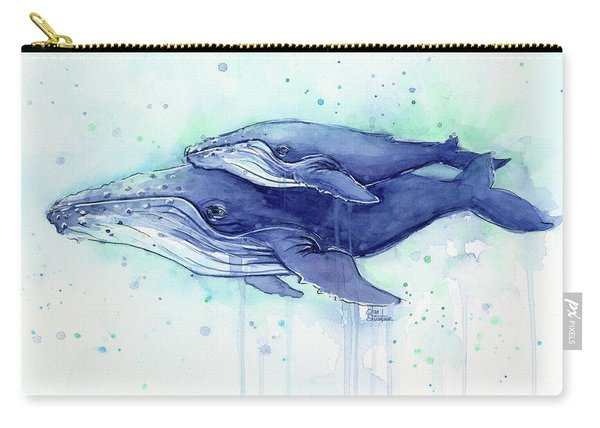 Humpback Whale Mom And Baby Watercolor Carry-all Pouch
