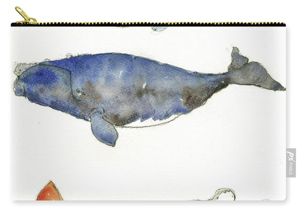 Humpback Whale, Right Whale And Squid Carry-all Pouch