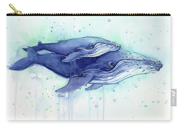 Humpback Whales Mom And Baby Watercolor Painting - Facing Right Carry-all Pouch