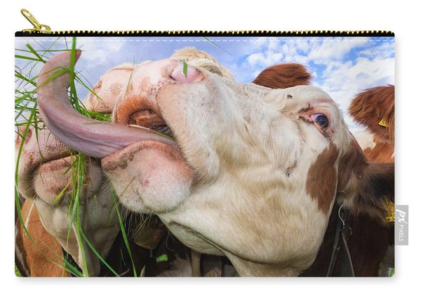Hungry Cow Eating Grass Funny Picture Carry-all Pouch