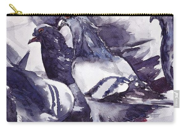 Hungry Pigeons Watercolor Carry-all Pouch