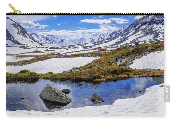 Carry-all Pouch featuring the photograph Hut In The Mountains by Dmytro Korol
