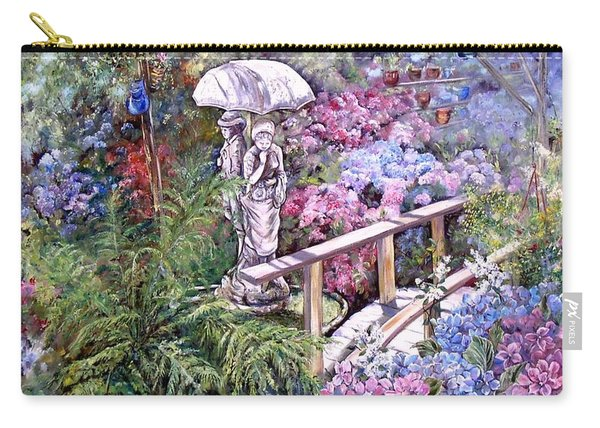 Carry-all Pouch featuring the painting Hydrangea In The Formosa Gardens by Ryn Shell