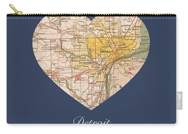 I Heart Detroit Michigan Vintage City Street Map Americana Series No 001 Carry-all Pouch