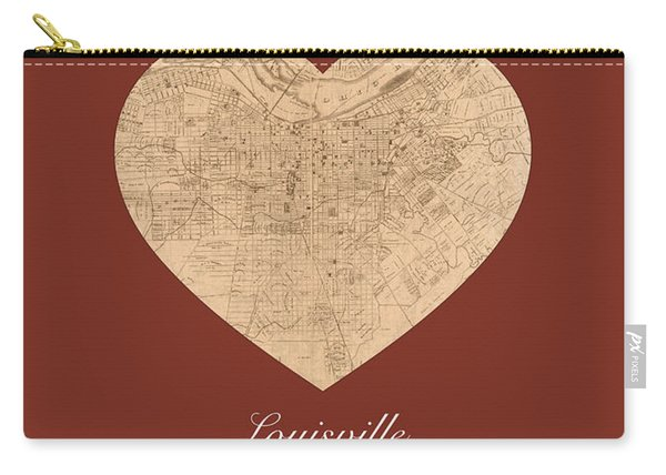 I Heart Louisville Kentucky Vintage City Street Map Americana Series No 007 Carry-all Pouch