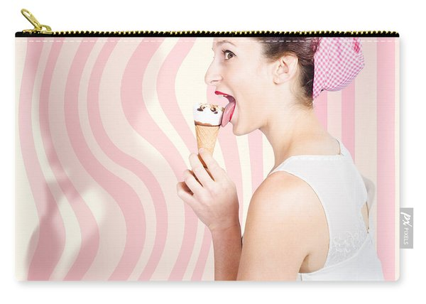 Ice Cream Pin-up Poster Girl Licking Waffle Cone Carry-all Pouch