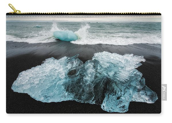 Iceberg And Black Beach In Iceland Carry-all Pouch