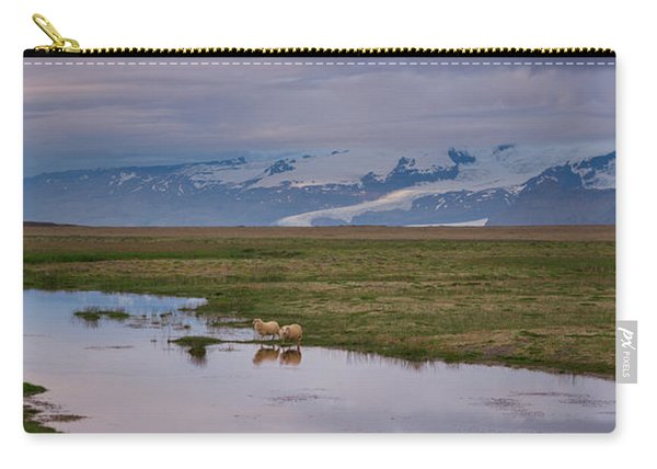 Iceland Sheep Reflections Panorama  Carry-all Pouch