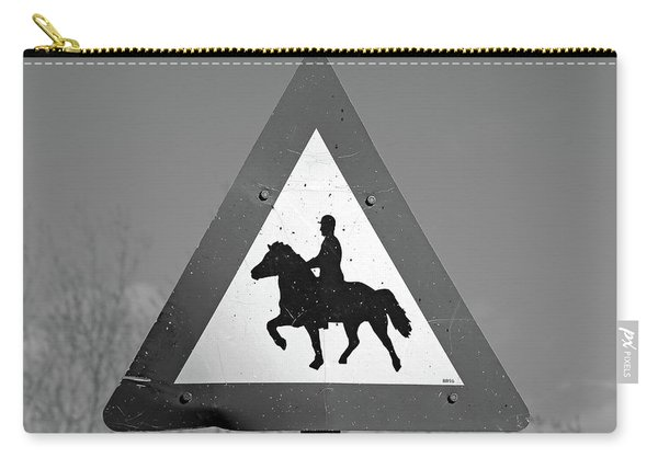 Icelandic Horse Crossing Sign Bw Carry-all Pouch