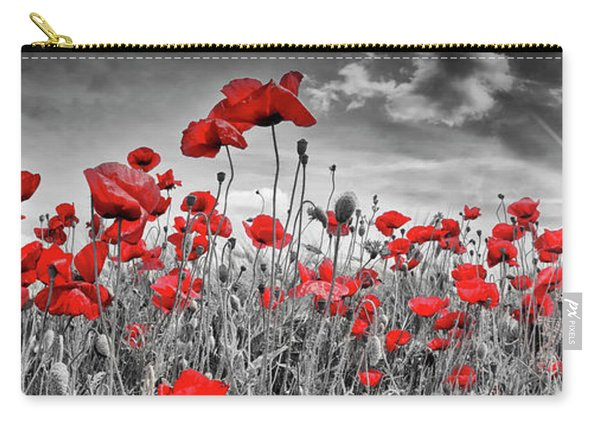 Idyllic Field Of Poppies With Sun - Panorama Carry-all Pouch