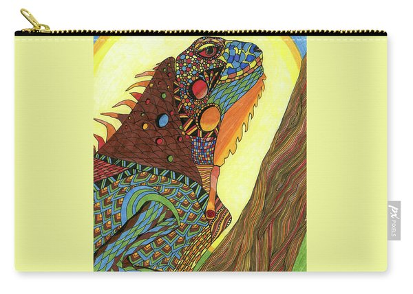 Carry-all Pouch featuring the drawing Iguana by Barbara McConoughey