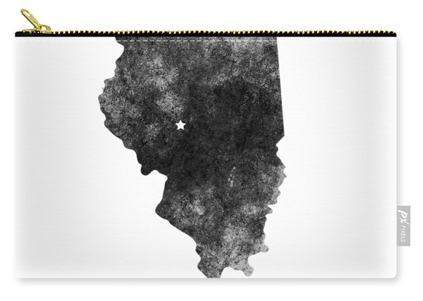 Illinois State Map Art - Grunge Silhouette Carry-all Pouch