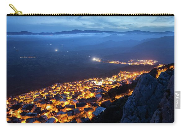 Illuminated Country At Night Carry-all Pouch