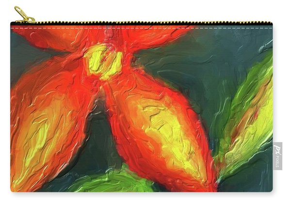 Impasto Red And Yellow Flower Carry-all Pouch