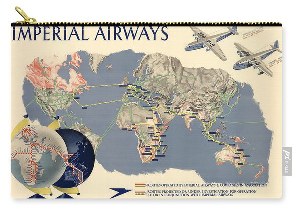 Imperial Airways - Vintage Travel Advertising Poster - World Map Carry-all Pouch