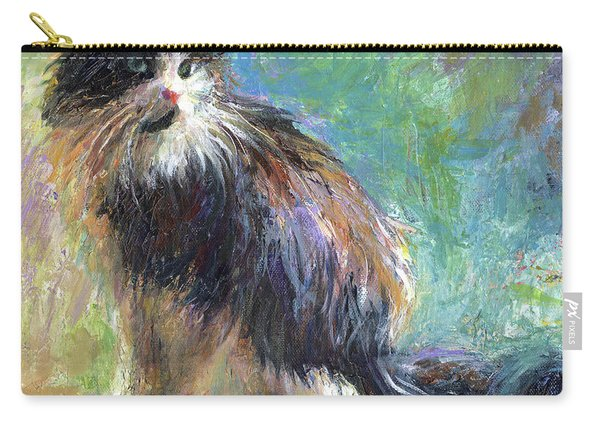 Impressionistic Tuxedo Cat Portrait Carry-all Pouch