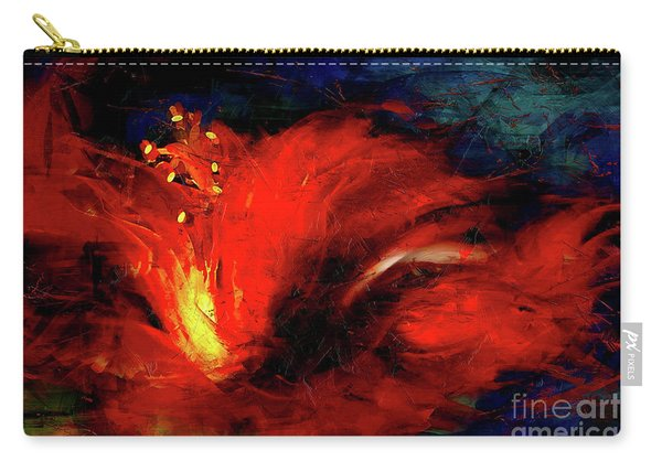 In Red Abstract Hibiscus Carry-all Pouch