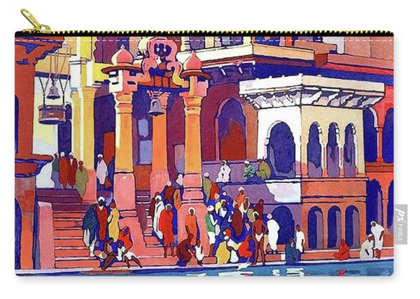 India, Indian State Railway Poster, Muttra Carry-all Pouch