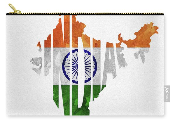India Typographic Map Flag Carry-all Pouch