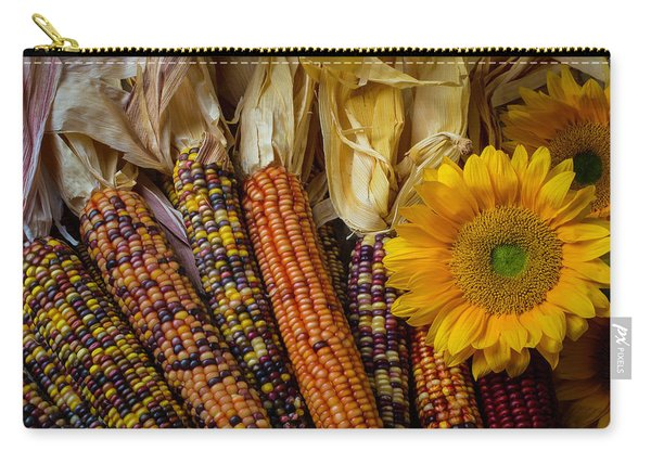 Indian Corn And Sunflowers Carry-all Pouch
