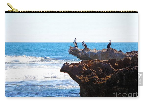 Indian Ocean Birds Resting On Rocks Carry-all Pouch