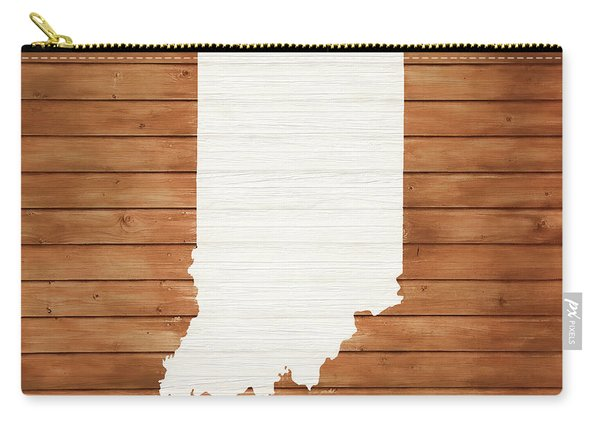 Indiana Rustic Map On Wood Carry-all Pouch
