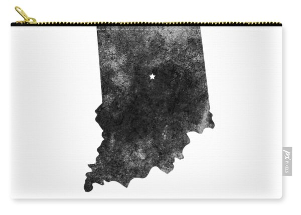 Indiana State Map Art - Grunge Silhouette Carry-all Pouch