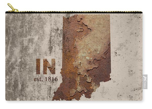 Indiana State Map Industrial Rusted Metal On Cement Wall With Founding Date Series 032 Carry-all Pouch