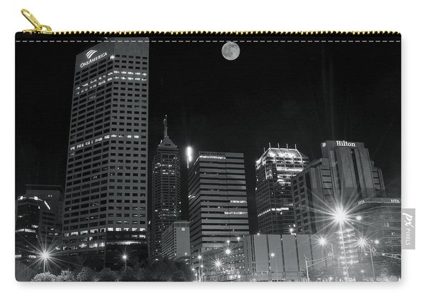 Indianapolis Downtown Black And White Carry-all Pouch