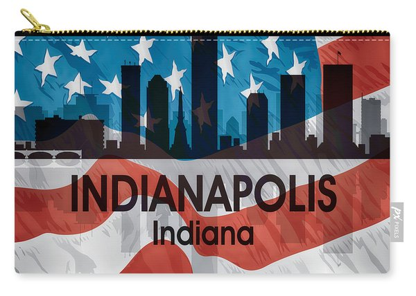 Indianapolis In American Flag Squared Carry-all Pouch