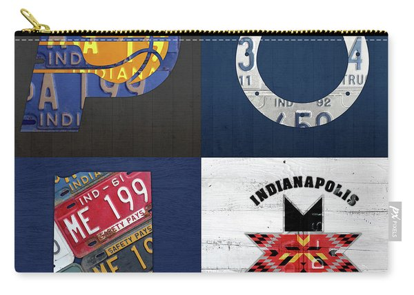 Indianapolis Indiana Sports Team License Plate Art Collage Map Pacers Colts Indians Carry-all Pouch
