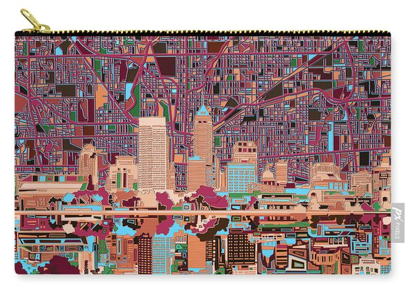 Indianapolis Skyline Abstract 4 Carry-all Pouch
