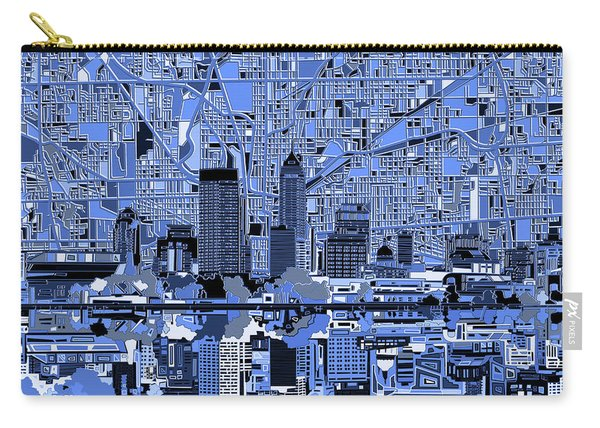 Indianapolis Skyline Abstract 7 Carry-all Pouch