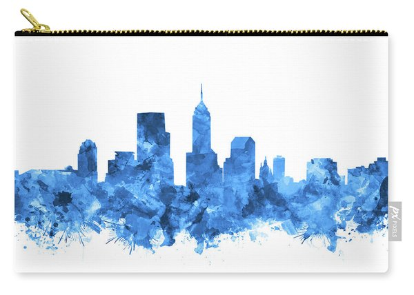 Indianapolis Skyline Watercolor Blue Carry-all Pouch