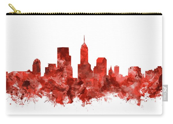 Indianapolis Skyline Watercolor Red Carry-all Pouch