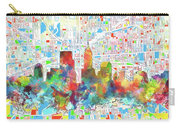 Indianapolis Watercolor Skyline Carry-all Pouch