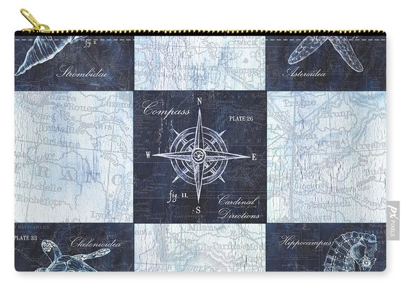 Indigo Nautical Collage Carry-all Pouch